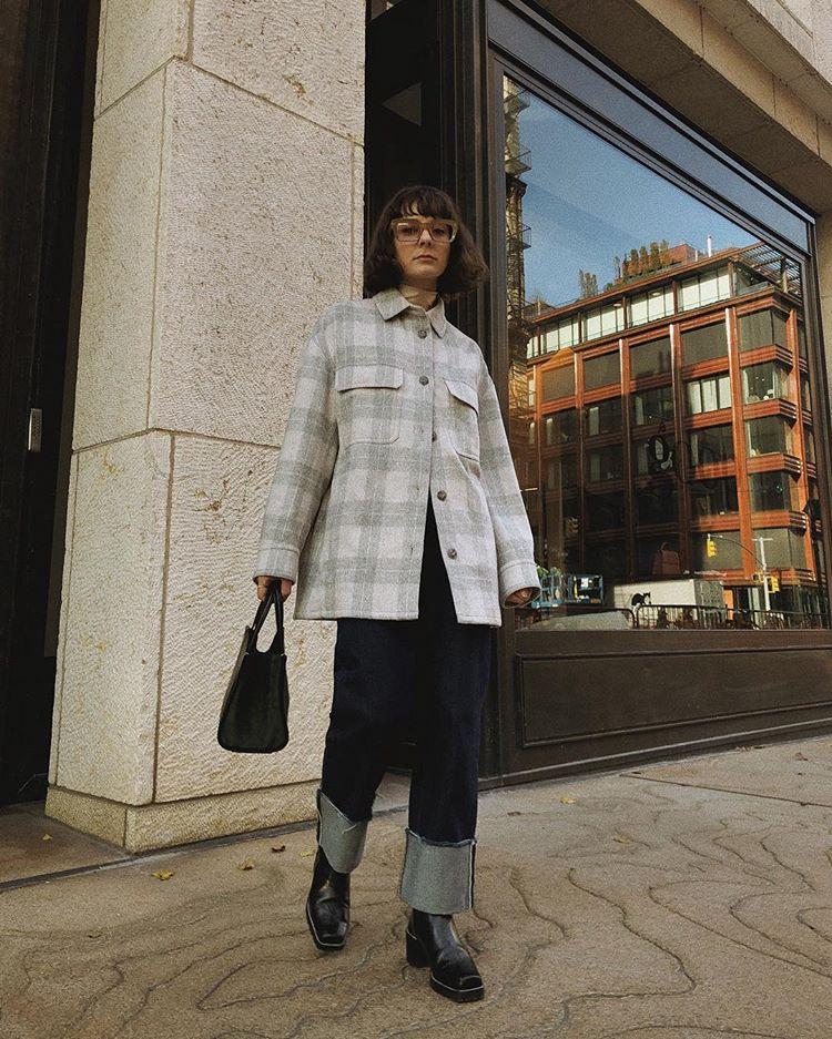 мода_зима_клетчатая куртка-рубашка