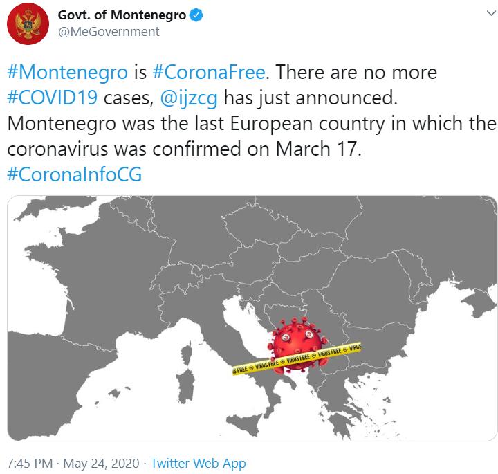 Черногория первой вевропейских странах  одолела  коронавирус,