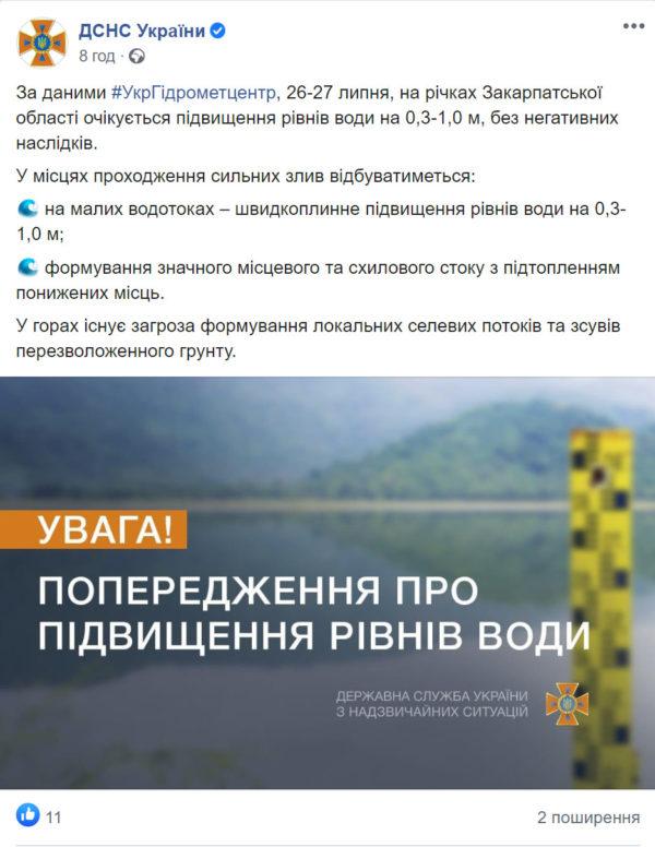 Рятувальники попередили про підвищення рівнів води в річках на Закарпатті