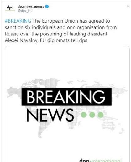 ЄС погодив санкції проти РФ через отруєння Навального