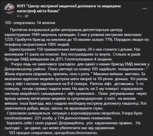 В Києві раптово обірвався ліфт з медиками швидкої допомоги