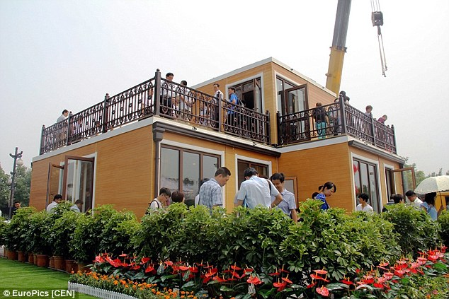 The two storey villa is built from components made