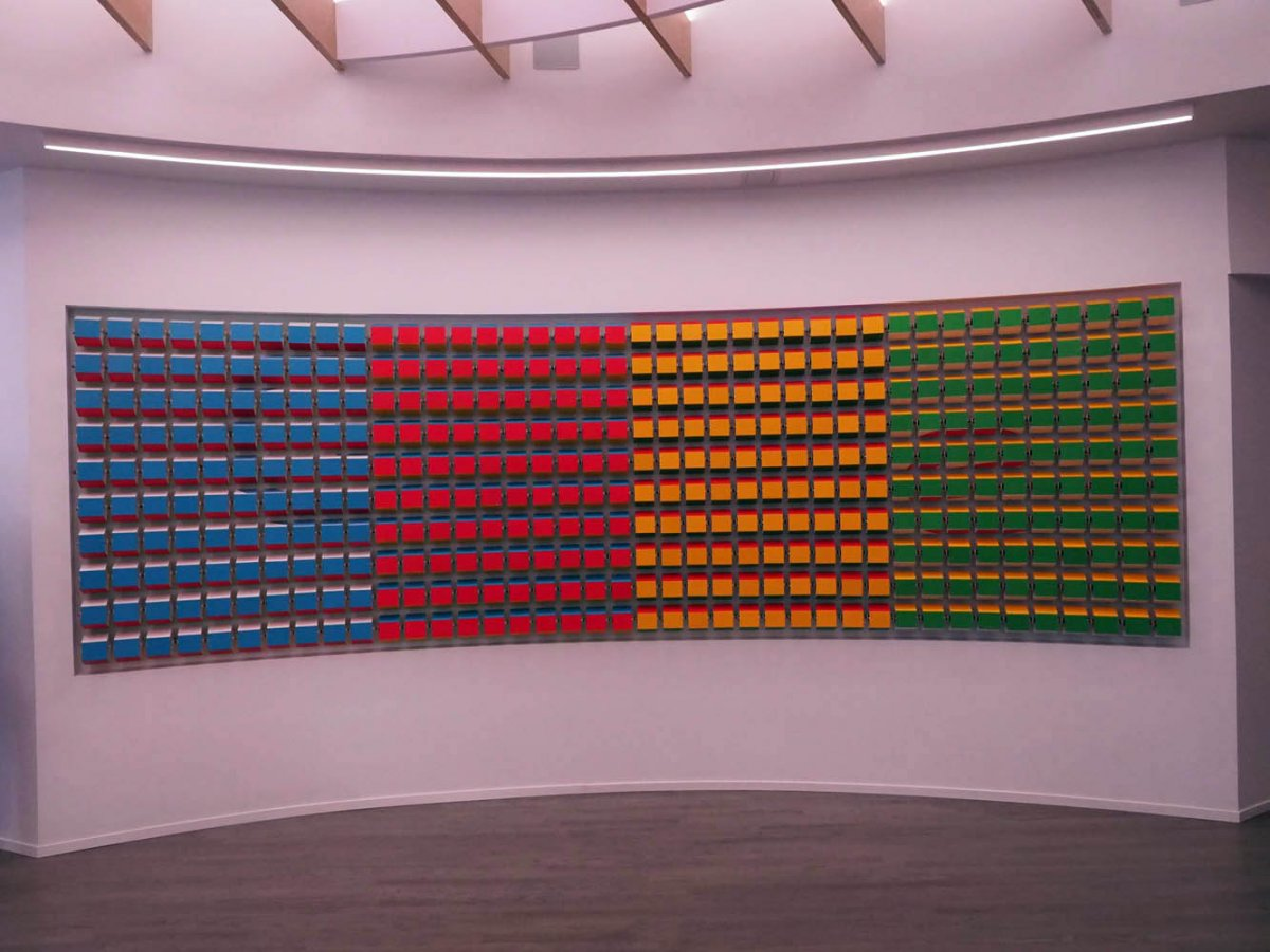 and this gigantic wall of colored blocks its design changes every now and again