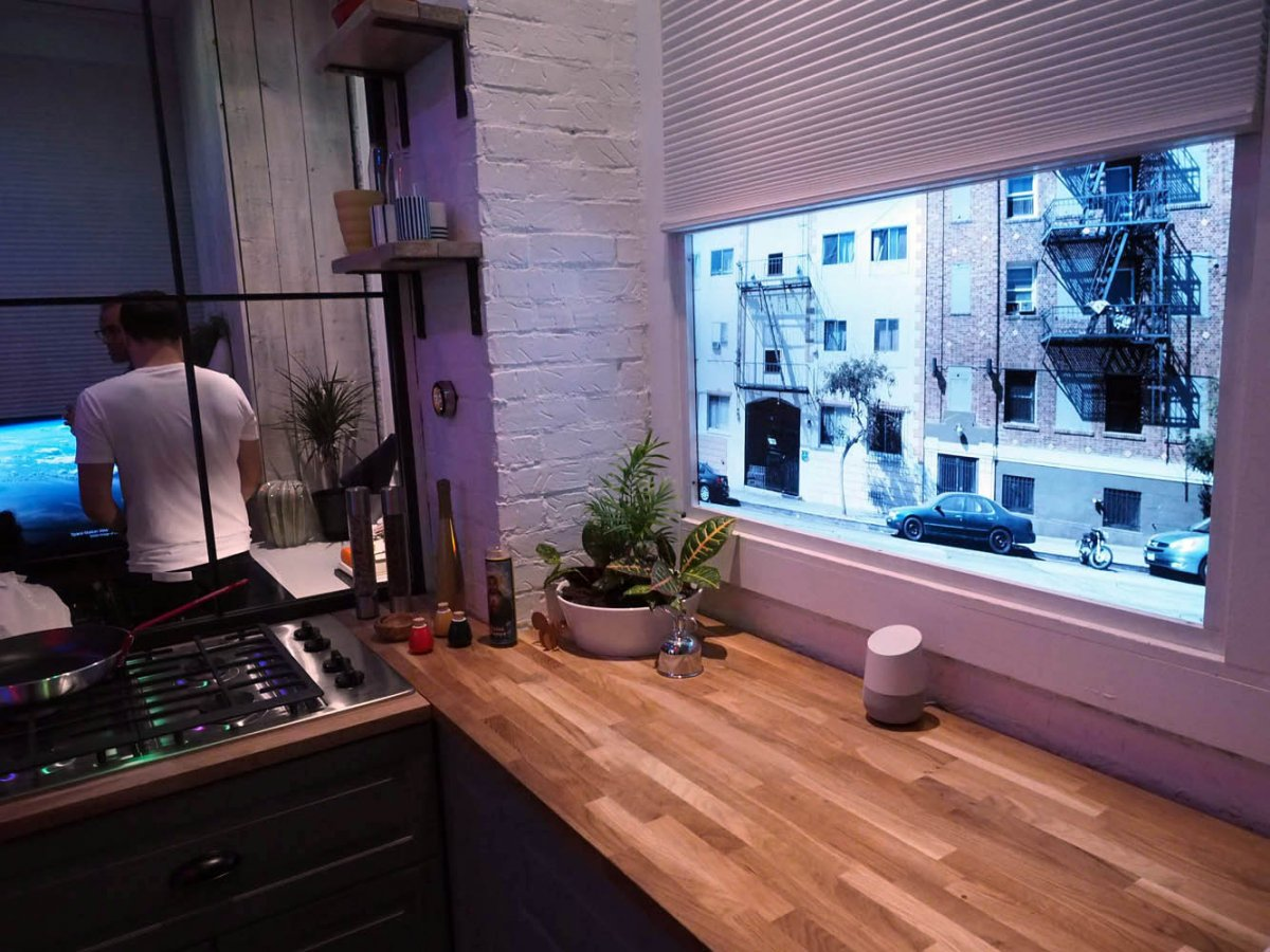 better yet there are two rooms a kitchen and a living room meant to exemplify the experience with google home