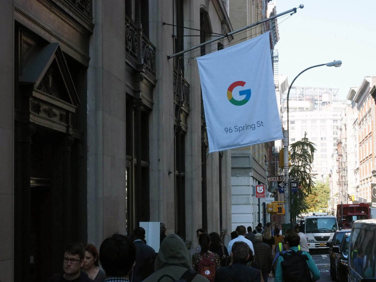 the google pop up store is at 96 spring st in beautiful downtown manhattan