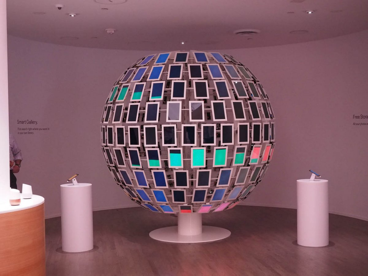 when youre not busy trying out vr theres this bizarre spheroid object made of tablets to uh look at i guess