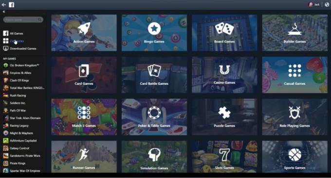 facebook gameroom categories
