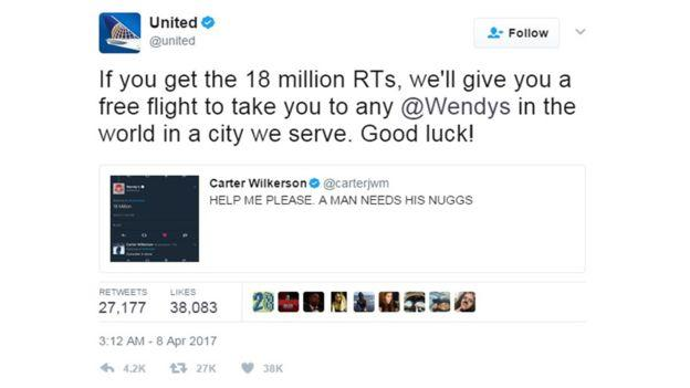Твит United Airlines