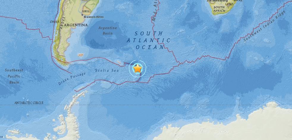 Очаг землетрясения у побережья Антарктиды