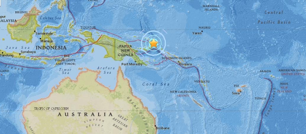 Землетрясение у побережья Папуа-Новой Гвинеи