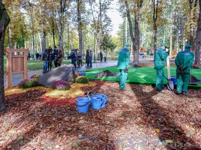 Аллея с саженцами сакур в Центральном парке культуры и отдыха Харькова