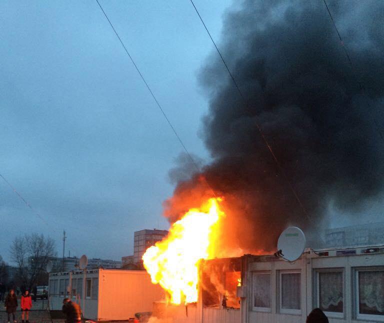 Пожар в модульном городке