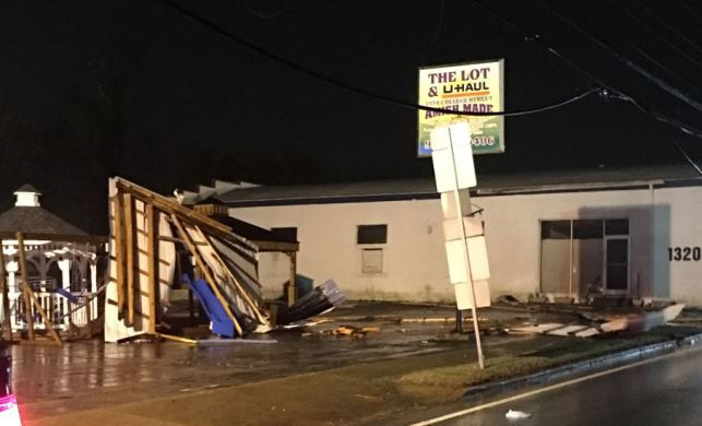 metal carport ripped off building on college st in clarksville photo andrew blyze