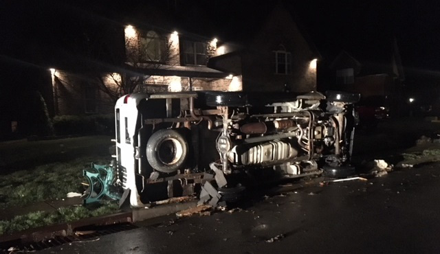 truck overturned in farmington neighborhood