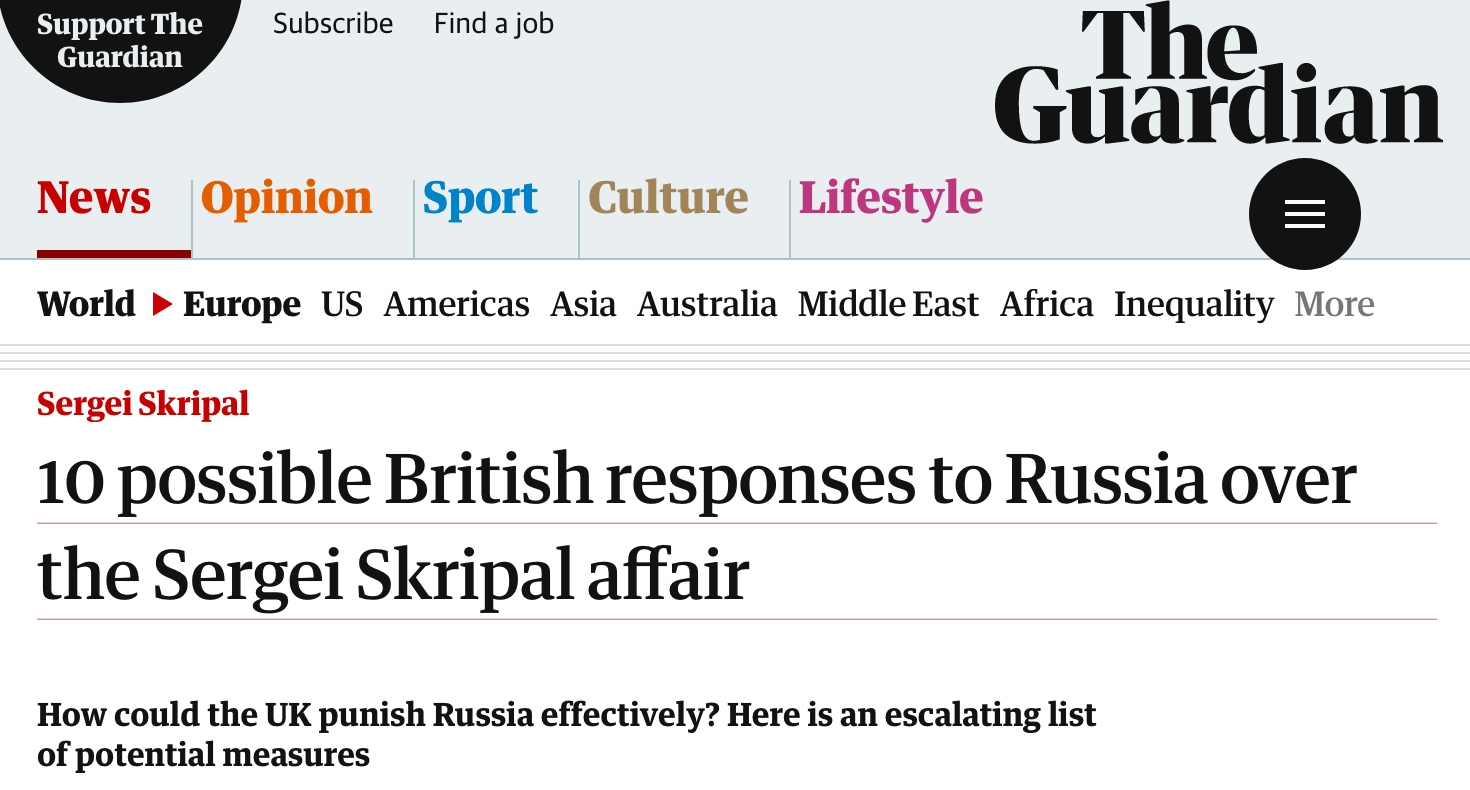 10 possible British responses to Russia