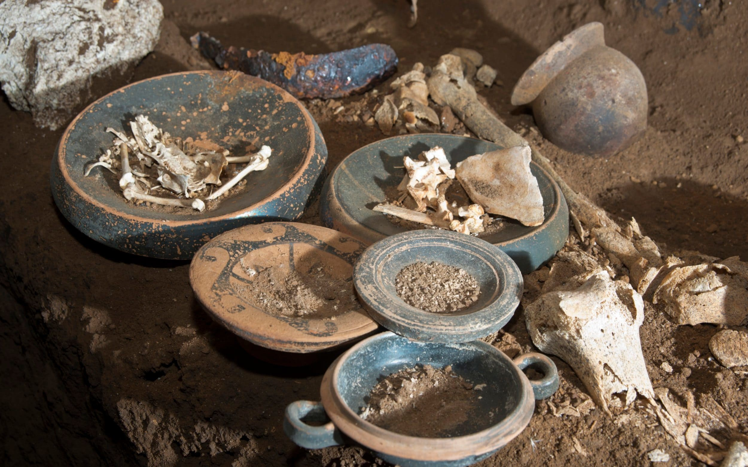 Funerary goods found in tomb