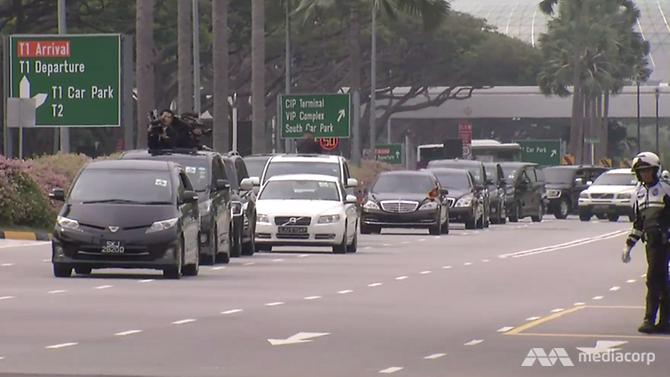 screengrab of kim motorcade leaving airport
