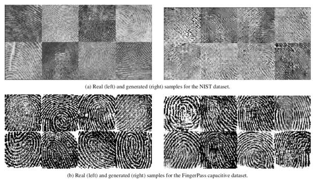 Настоящие отпечатки пальцев (справа) приведені для сравнения с фейковыми (слева)