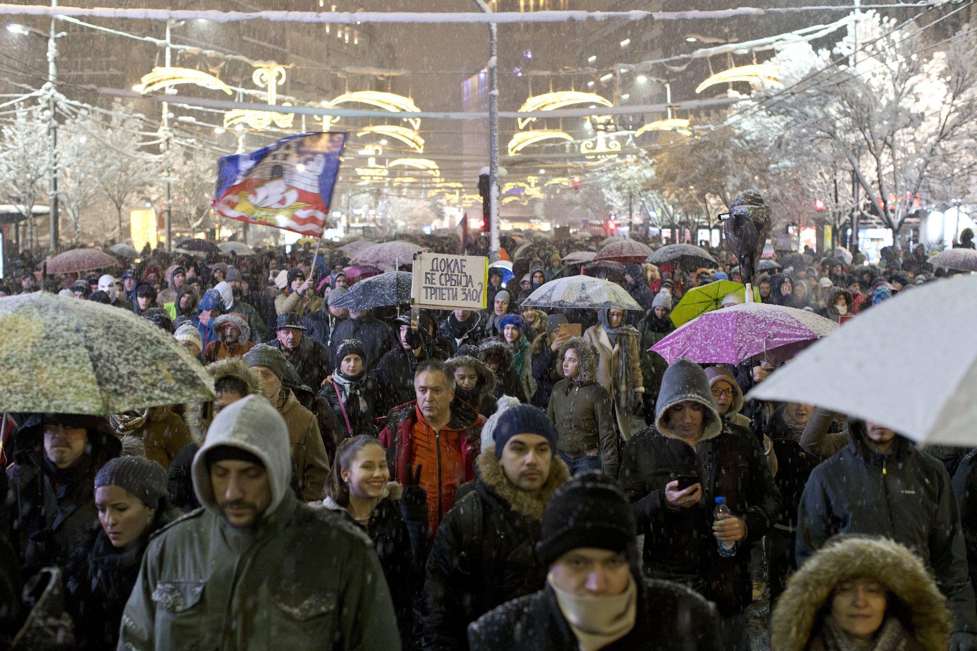 протест против Вучича