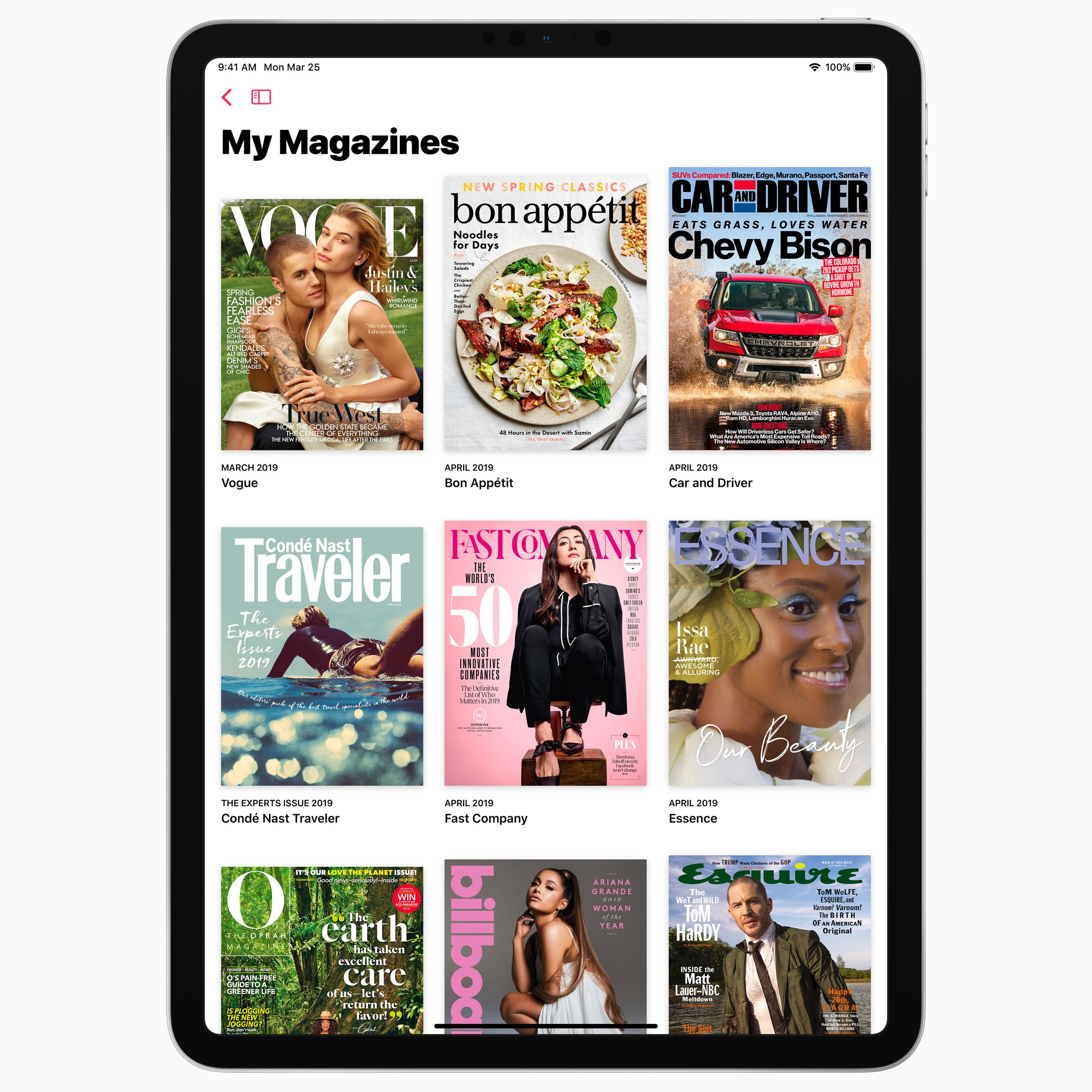 Apple news plus magazines ipad screen 03252019
