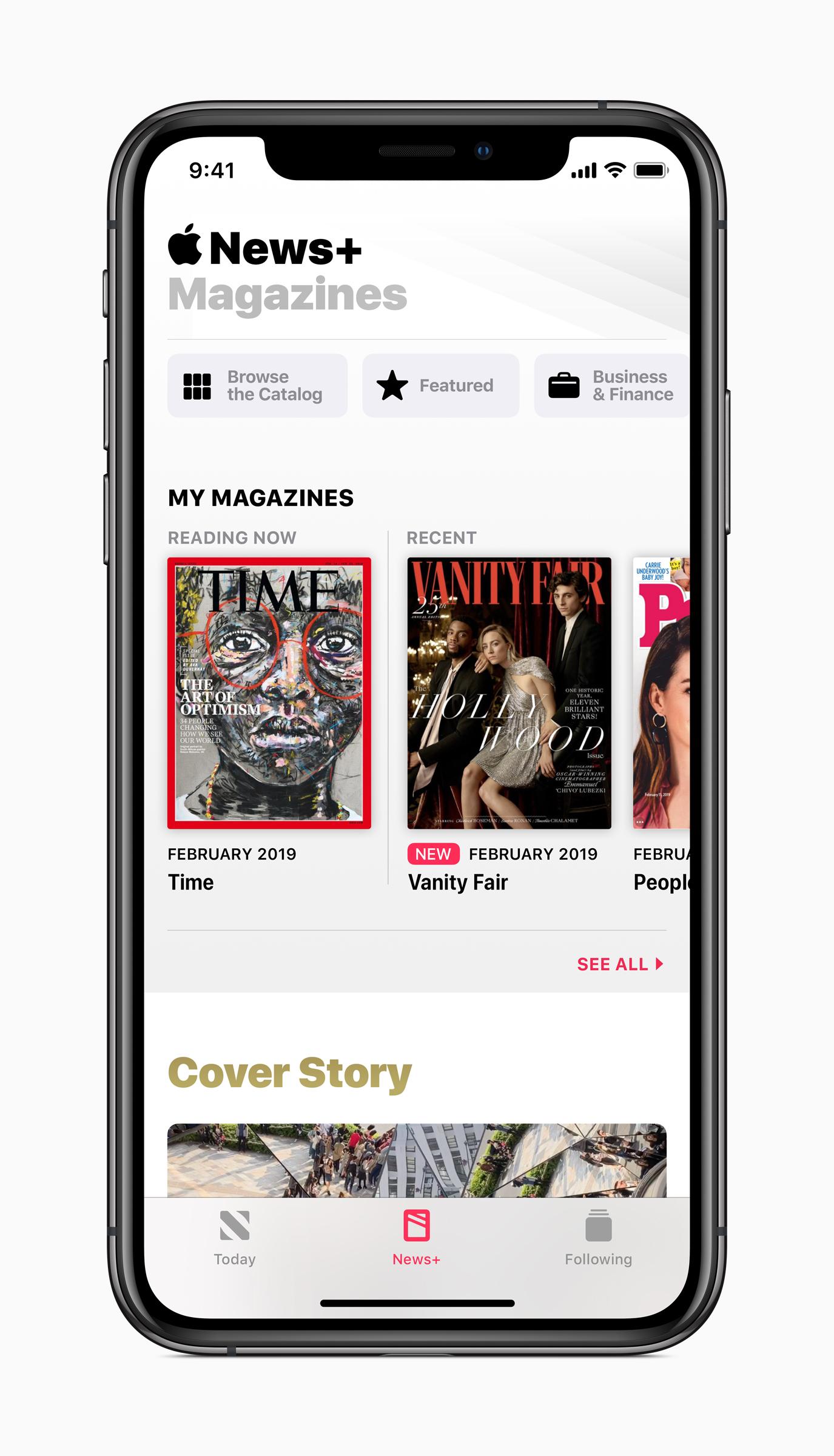 Apple news plus magazines iphone screen 03252019