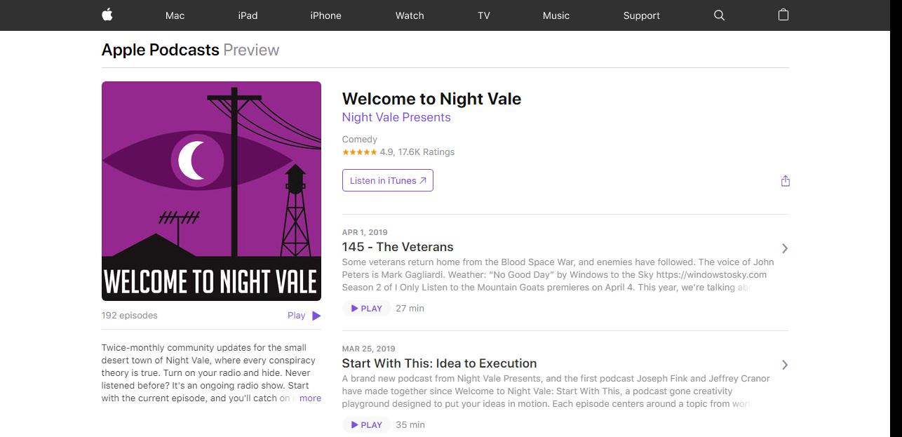 Подкасты Apple Welcome to Night Vale