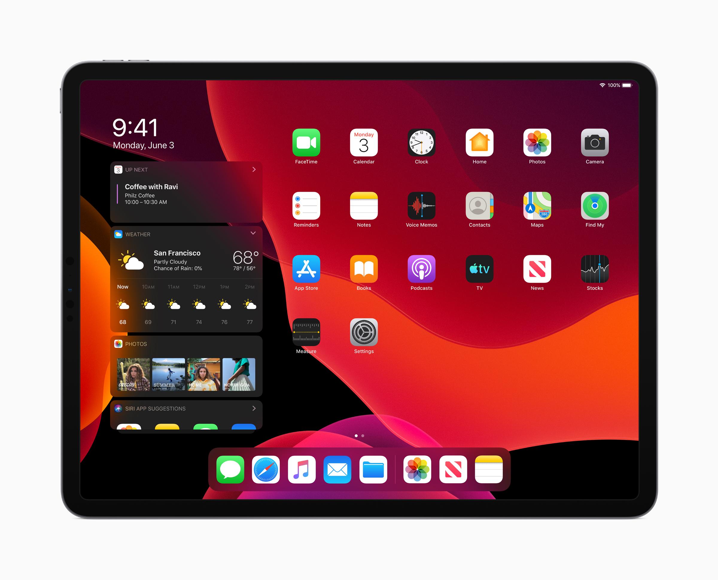 Apple iPadOS Today View Dark Mode 060319